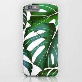 Monstera deliciosa leaf pattern digital illustration  iPhone Case