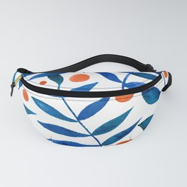 Watercolor berries and branches - blue and orange Fanny Pack