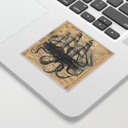 Octopus Kraken attacking Ship Antique Almanac Paper Sticker