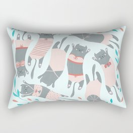Swimsuit Cats in Sweet Pink Rectangular Pillow