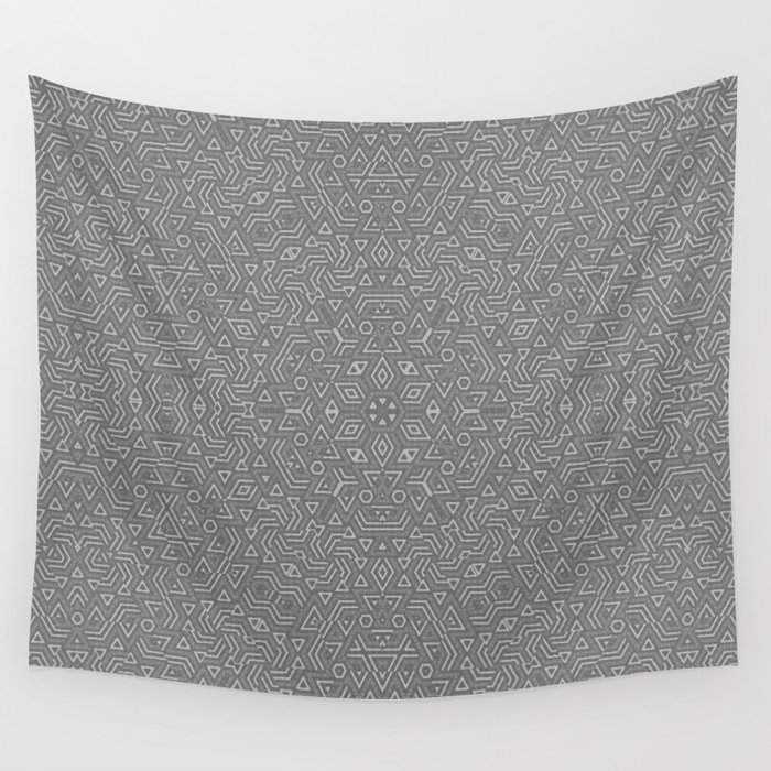 Abstract Grey Pattern Wall Tapestry