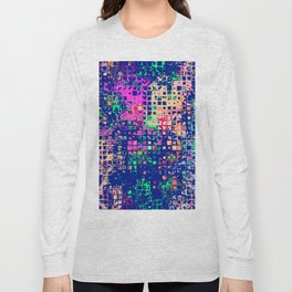Colorful squares on a blue background Long Sleeve T-shirt