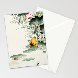 Frog in the swamp  - Vintage Japanese Woodblock Print Art Stationery Cards