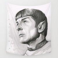 spock Wall Tapestries featuring Star Trek Spock Portrait by Olechka