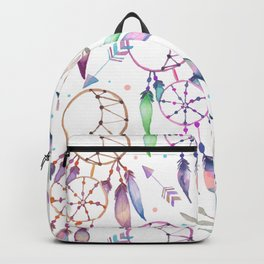 Watercolor Boho Dream Catcher Pattern Backpack