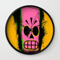 grim fandango Wall Clocks featuring Manny Calavera, Yellow version (Grim Fandango) by acefecoo