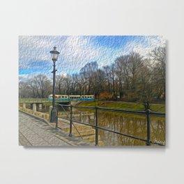 Blue train Metal Print