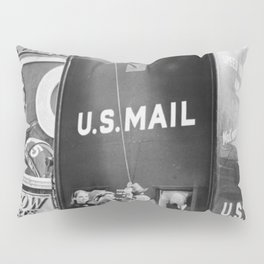 Times Square Post Office Giant Mailbox Stamp-selling Booth black and white photography Pillow Sham