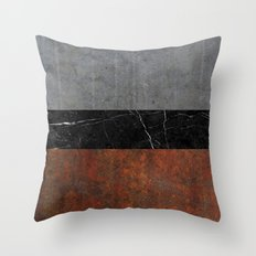 Concrete, Marble and Rusted Iron Abstract Throw Pillow