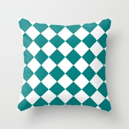 Large Diamonds - White and Dark Cyan Throw Pillow