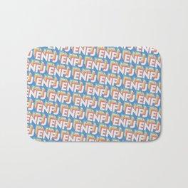 ENFJ Trendy Rainbow Text Pattern (Blue) Bath Mat