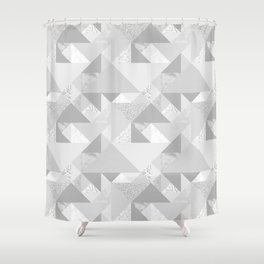 Modern abstract glacier gray white geometrical pattern Shower Curtain