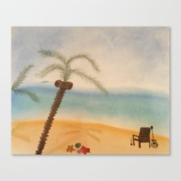 Guitar and the Beach Canvas Print
