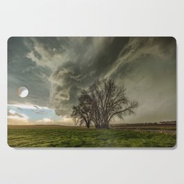 Just Over the Trees - Spring Storm Advances Over Western Nebraska Plains Cutting Board