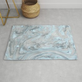 Ice Blue and Gray Marble Rug