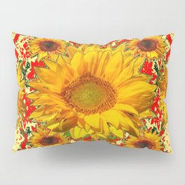 Red Patterns Yellow Sunflowers Abstract Art Pillow Sham
