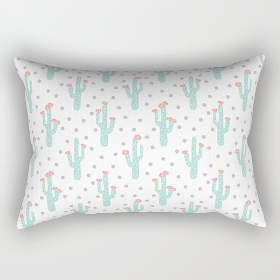 White Cactus Flowers triangle geometric kids fun southwest tribal socal hipster pattern desert print Rectangular Pillow