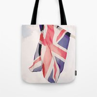 british flag Tote Bags featuring British Flag by Rachael Jane