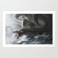 hydra Art Prints featuring Hydra by Stephanie Lee