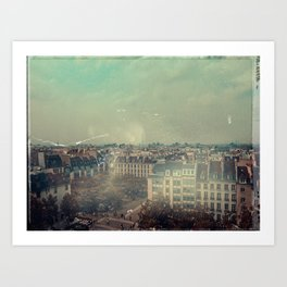 Vintage View of Paris From Up High Art Print