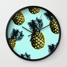 Pineapple Express Aqua Wall Clock