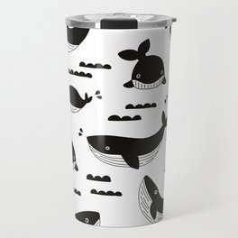 Little fish big fish ocean monochrome pattern Travel Mug