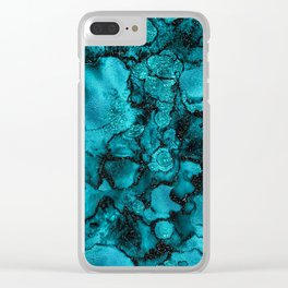 Blue Gemstone and Ink Malachite Glitter Marble Clear iPhone Case
