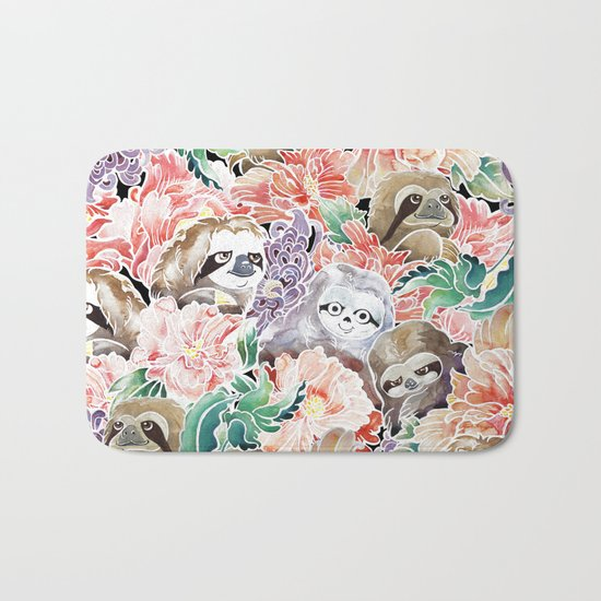 Because Sloths Watercolor Bath Mat