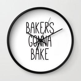 Bakers Gonna Bake, Kitchen Signs, 11 x 14 Print, Instant Art, Monochrome Print, Kitchen Decor Wall Clock