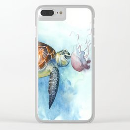 Turtle Noms Clear iPhone Case
