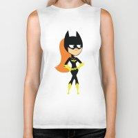 batgirl Biker Tanks featuring Batgirl by Adrian Mentus