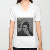 stiles V-neck T-shirts featuring nogitsune!stiles by steammmpunk