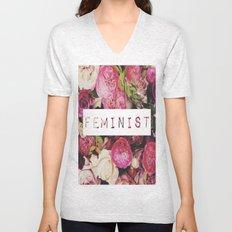 Floral Feminist Design Unisex V-Neck