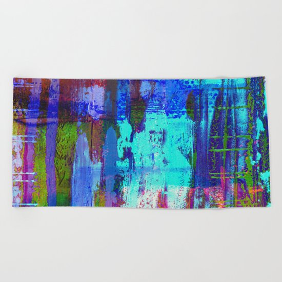 Electric Abstract - Textured, painting Beach Towel