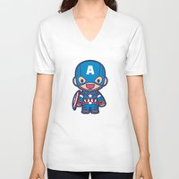 captain V-neck T-shirts featuring Captain by Papyroo