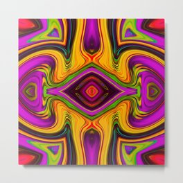 pink purple yellow green red symmetry art abstract background Metal Print