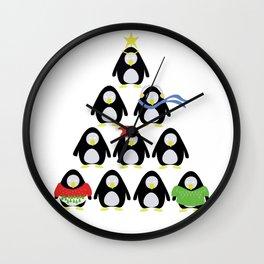 Holiday Penguins Wall Clock