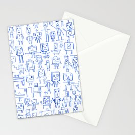 Robot Crowd Stationery Cards