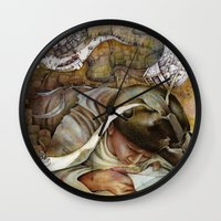 shopping Wall Clocks featuring Ants/Shopping  by Andreas Derebucha