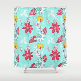 Mint refreshing tropical flowers Shower Curtain