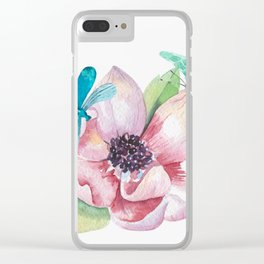 Butterfly and Dragonfly with Flowers Clear iPhone Case