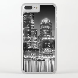 BOSTON Fan Pier Park & Skyline in the evening | Monochrome Panoramic Clear iPhone Case