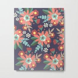 Navy Coral Floral Metal Print