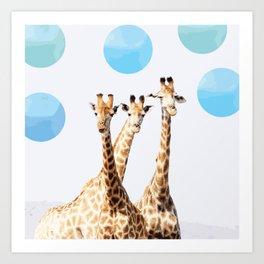 Giraffe with sky polka dots #society6 Art Print