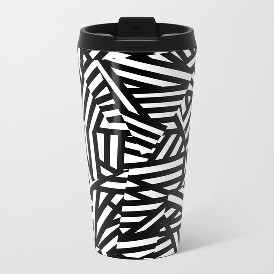 Simply Black and White 1 Metal Travel Mug
