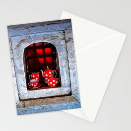 Tea Set On A Windowsill. Welcome To The Castle Stationery Cards