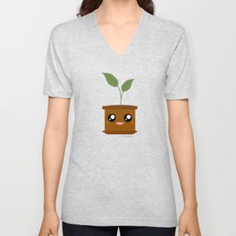 Cute Happy Potted Plant Unisex V-Neck