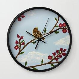 Robin on Plumb Tree Wall Clock