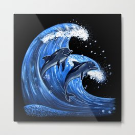 Two Dolphings CatchingThe Wave Metal Print