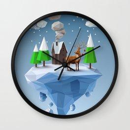 Geometric, low poly winter landscape Wall Clock